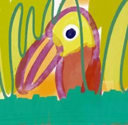 vogel met grote snavel - illustratie illustration dutch illustrator carmen nutbey amsterdam nederland netherlands