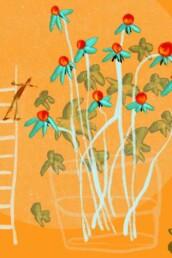 kleurrijke en fantasievolle illustratie van mini figuur door Nederlandse illustrator carmen nutbey