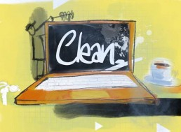 clean desk, flex plek - illustratie illustration dutch illustrator carmen nutbey amsterdam nederland netherlands