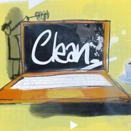 clean desk, flex plek - illustratie illustration dutch illustrator carmen nutbey amsterdam nederland netherlands