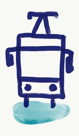 illustratie tram door illustrator Carmen Nutbey
