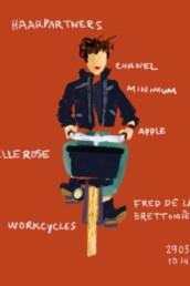 editorial illustration dutch woman on bike - redactionele illustratie vrouw op fiets - dutch illustrator carmen nutbey