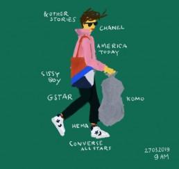 illustratie van dutch illustratoR carmen Nutbey lopend naar de afvalcontainer