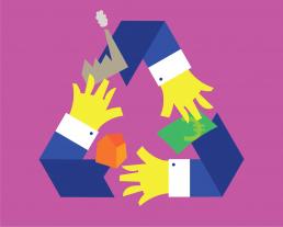conceptuele illustratie - management circular ecomomy - illustrator carmen nutbey