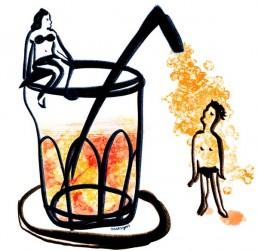 illustration of refreshing drinks in summer - editorial - dutch illustrator carmen nutbey