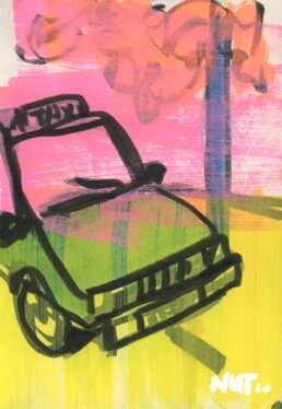 sketchbook illustration cab taxi evening - illustrator carmen nutbey