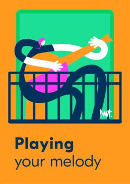 Redactionele illustratie melody music playing guitar woman - illustration gitaar muziek vrouw - illustrator carmen nutbey editorial dutch