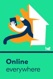 Redactionele illustratie online altijd contact overal - illustration internet connection app - illustrator carmen nutbey editorial redactioneel dutch