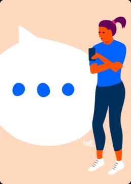web illustratie - contact chat - woningcorporatie de alliantie - illustrator carmen nutbey