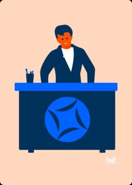 web illustratie balie klantenbalie - woningcorporatie de alliantie - illustrator carmen nutbey