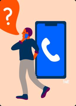 web illustratie telefoon bellen contact - woningcorporatie de alliantie - illustrator carmen nutbey