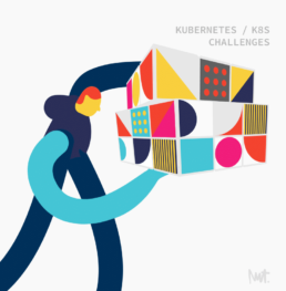 editorial illustration of challenges with kubernetes K8S Otomi Red Kubes - illustrator Carmen Nutbey