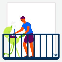 balkonscène alliantie - bbq - barbecue - illustration illustrator carmen nutbey