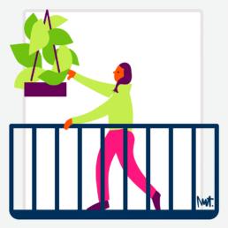 balkonscène alliantie - plantjes - illustration illustrator carmen nutbey