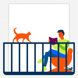 balkonscène alliantie - lezen - kat - illustration illustrator carmen nutbey