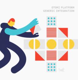 editorial illustration generic integration otomi kubernetes K8S Otomi Red Kubes - illustrator Carmen Nutbey
