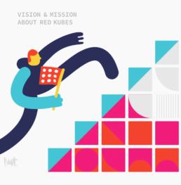 editorial illustration - corporate - vision mission - Red Kubes - Kubernetes K8s - illustrator Carmen Nutbey - Commission