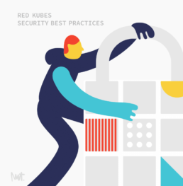 editorial illustration ofsecurity with otomi kubernetes K8S Otomi Red Kubes - illustrator Carmen Nutbey