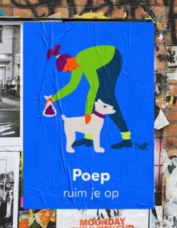 editorial illustration redactionele illustratie corporate - De Alliantie - hondenpoep opruimen - dog shit - Illustratie in opdracht - Commission