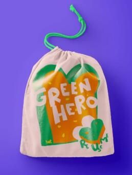 Illustration Food bag cotton Re use me - Green Hero - illustrator Carmen nutbey